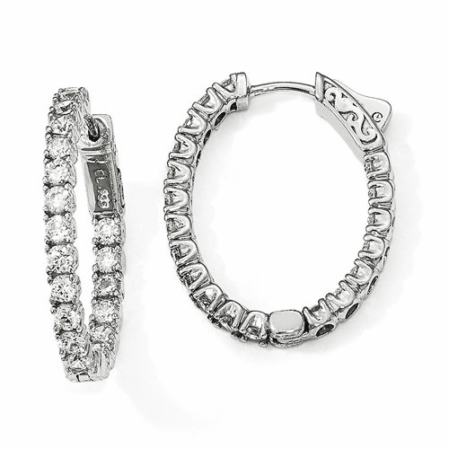 Sterling Silver Rhodium-plated Cz Oval In & Out Hoop Earrings Qe12991
