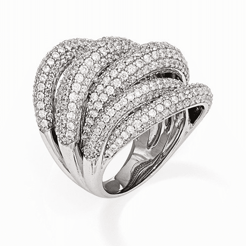 Sterling Silver Rhodium Plated Cz Ring Qr5969-6