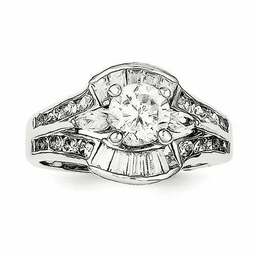 Sterling Silver Rhodium-plated Cz Ring Qr989-8