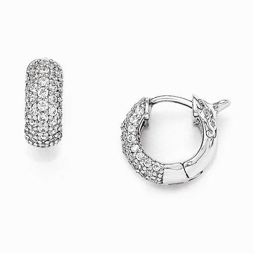 Sterling Silver Rhodium Plated Cz Small Hinged Hoop Earrings Qe11273