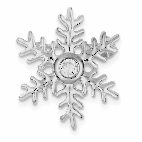 Sterling Silver Rhodium-plated Cz Snowflake Pin Qp369