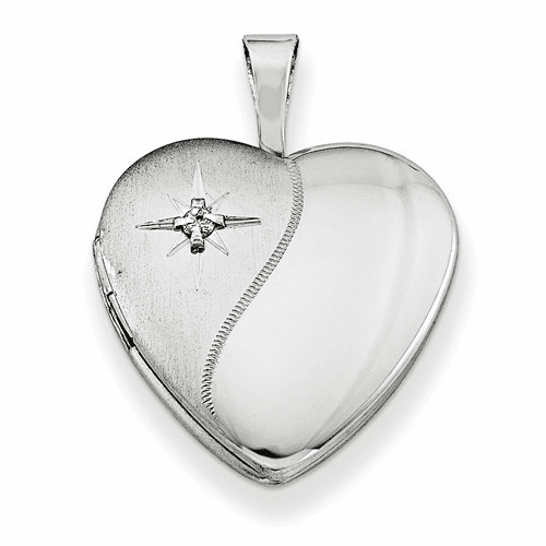 Sterling Silver Rhodium-plated & Dia. 16mm D/c Heart Locket Qls437