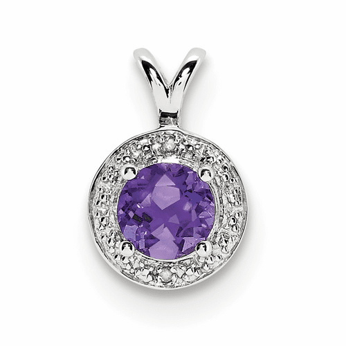Sterling Silver Rhodium-plated Diamond & Amethyst Pendant Qbpd11feb