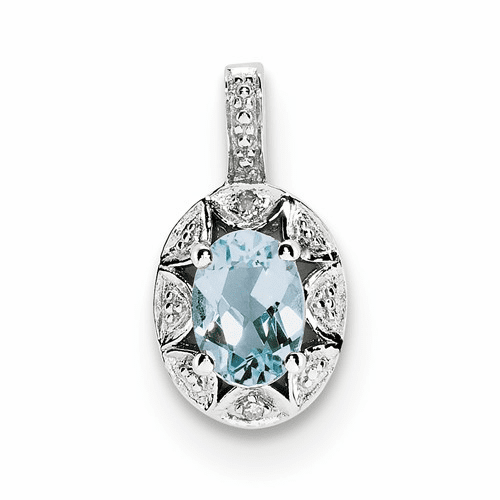 Sterling Silver Rhodium-plated Diamond & Aquamarine Pendant