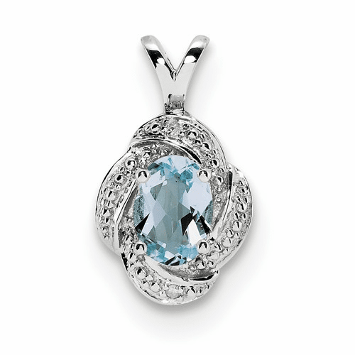 Sterling Silver Rhodium-plated Diamond & Aquamarine Pendant Qbpd12mar