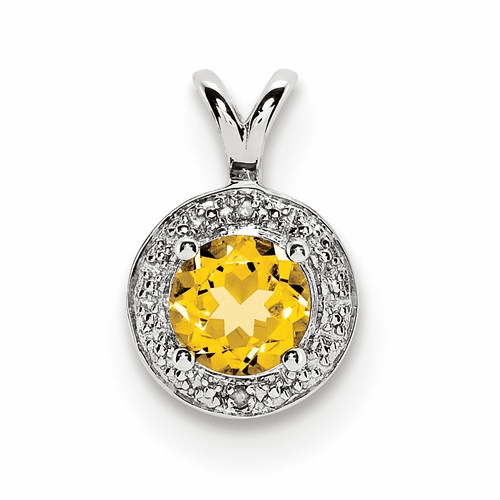 Sterling Silver Rhodium-plated Diamond & Citrine Pendant Qbpd11nov