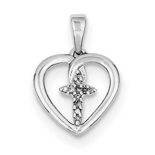 Sterling Silver Rhodium-plated Diamond Cross In Heart Pendant Qdx166