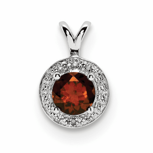 Sterling Silver Rhodium-plated Diamond & Garnet Pendant Qbpd11jan