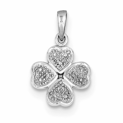 Sterling Silver Rhodium Plated Diamond Heart Clover Pendant Qp3518