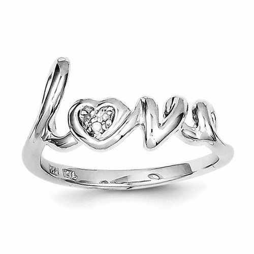 Sterling Silver Rhodium Plated Diamond Love Ring Qr5683-8
