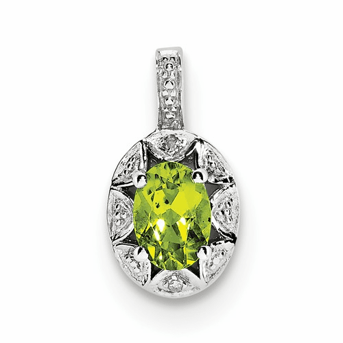 Sterling Silver Rhodium-plated Diamond & Peridot Pendant Qbpd10aug