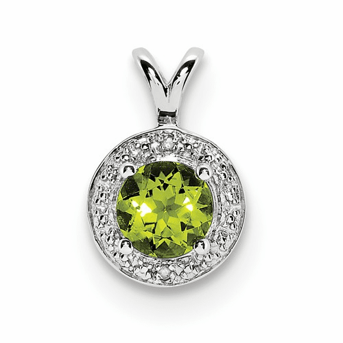 Sterling Silver Rhodium-plated Diamond & Peridot Pendant Qbpd11aug