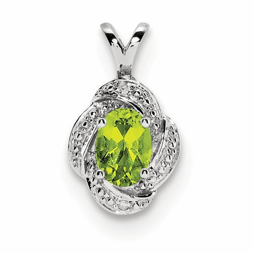 Sterling Silver Rhodium-plated Diamond & Peridot Pendant Qbpd12aug