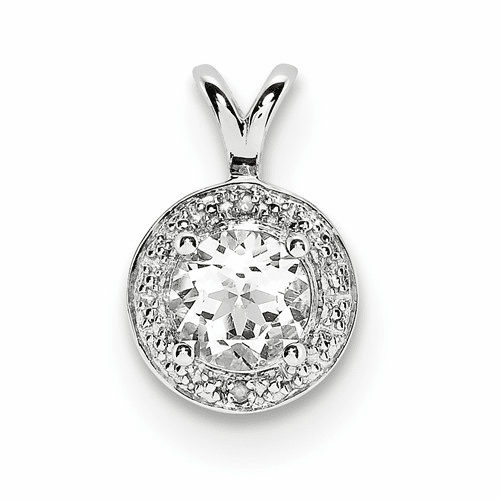 Sterling Silver Rhodium-plated Diamond & White Topaz Pendant