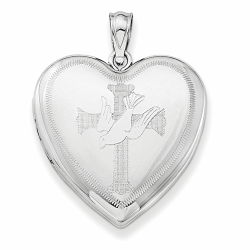 Sterling Silver Rhodium-plated Dove With Cross Heart Locket Qls634