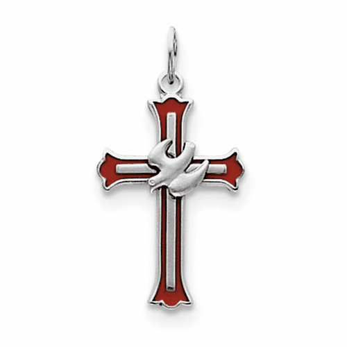 Sterling Silver Rhodium-plated Enameled Cross W/dove Charm Qc3337