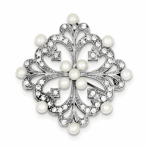 Sterling Silver Rhodium-plated Fw Cultured Pearl & Cz Pin Qp879