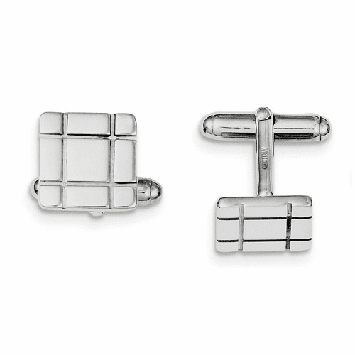 Sterling Silver Rhodium-plated Grooved Design Cuff Links Qq438
