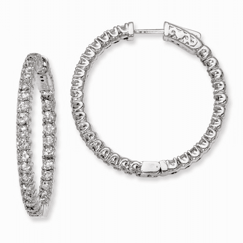 Sterling Silver Rhodium-plated In And Out Hinged Hoop Earrings Qe7957