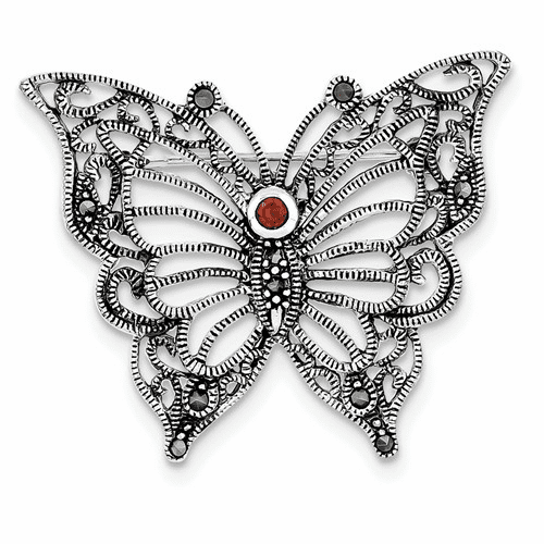 Sterling Silver Rhodium-plated Marcasite Red Cz Butterfly Pin Qp348