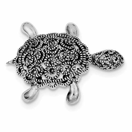 Sterling Silver Rhodium-plated Marcasite Turtle Pin Qp117