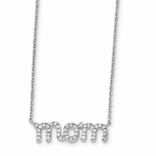 Sterling Silver Rhodium-plated Mom W/cz Necklace Qg4014-18