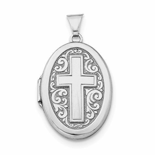Sterling Silver Rhodium-plated Oval Cross Locket Qls217