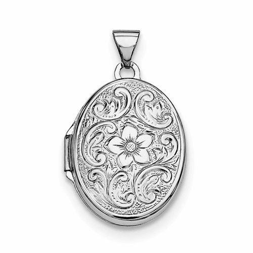 Sterling Silver Rhodium-plated Oval Floral Locket Qls190