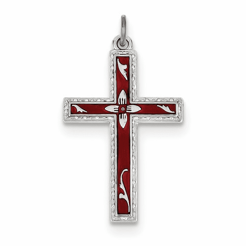 Sterling Silver Rhodium-plated Red Enameled Cross Pendant Qc3263