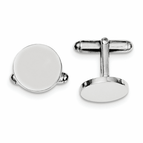 Sterling Silver Rhodium-plated Round Cuff Links Qq307