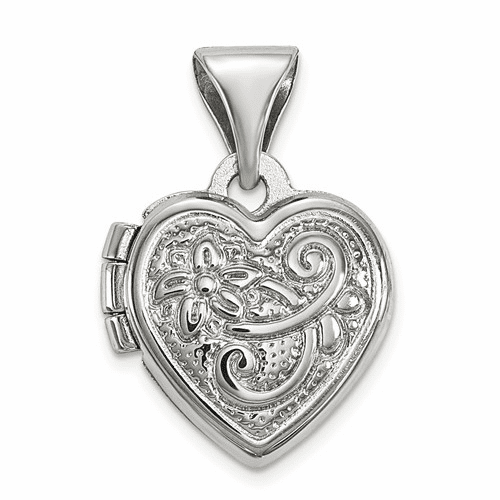 Sterling Silver Rhodium-plated Scrolled Heart Locket Qls32