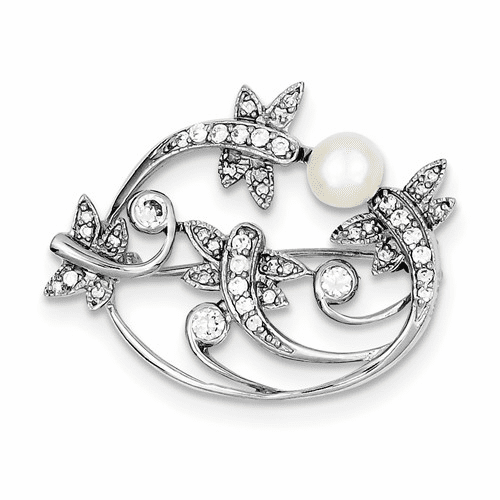 Sterling Silver Rhodium-plated Simulated Pearl And Cz Pin Qp880