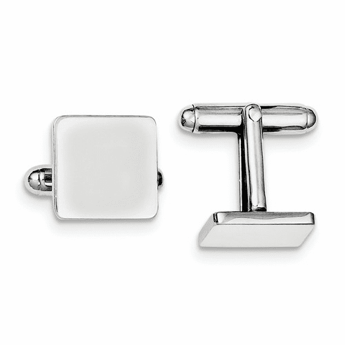 Sterling Silver Rhodium-plated Square Cuff Links Qq310