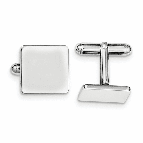 Sterling Silver Rhodium-plated Square Cuff Links Qq311