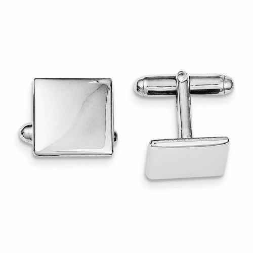 Sterling Silver Rhodium Plated Square Cuff Links Qq510