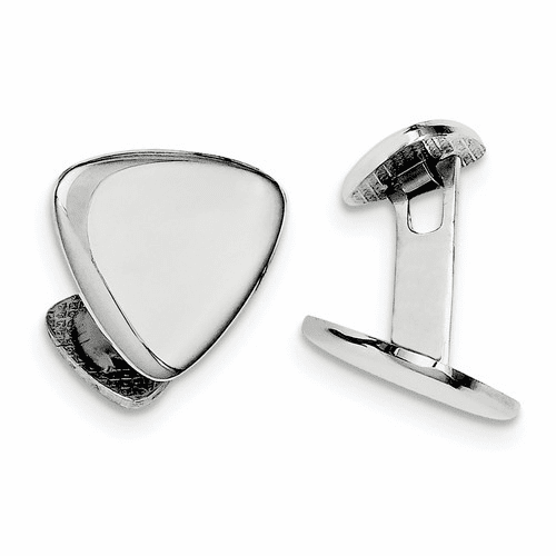 Sterling Silver Rhodium Plated Triangle Cuff Links Qq514