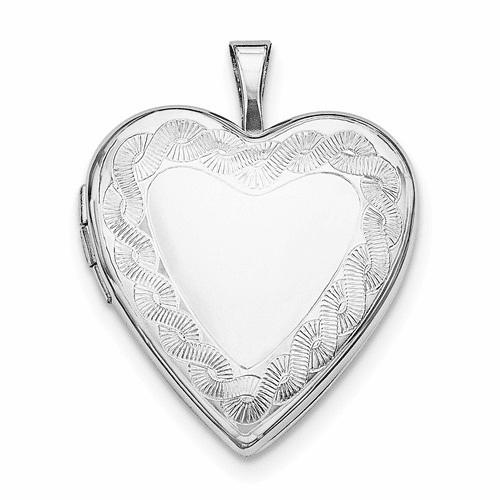 Sterling Silver Rhodium-plated Twisted Rope Edge Heart Locket Qls628