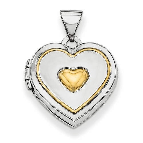 Sterling Silver Rhodium-plated W/gold-plate 15mm Heart Locket Qls612
