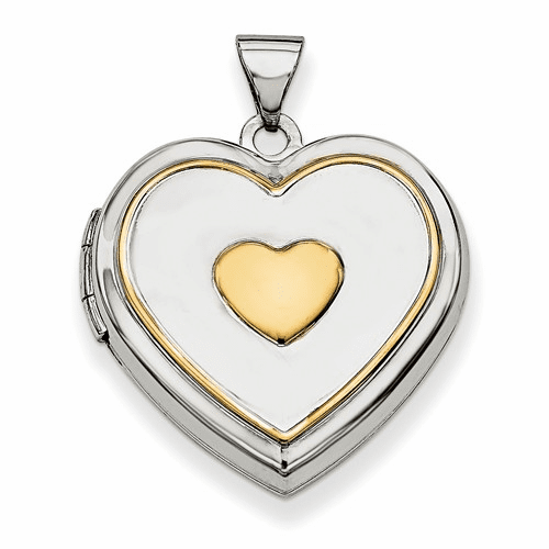 Sterling Silver Rhodium-plated W/gold-plate 21mm Heart Locket Qls603