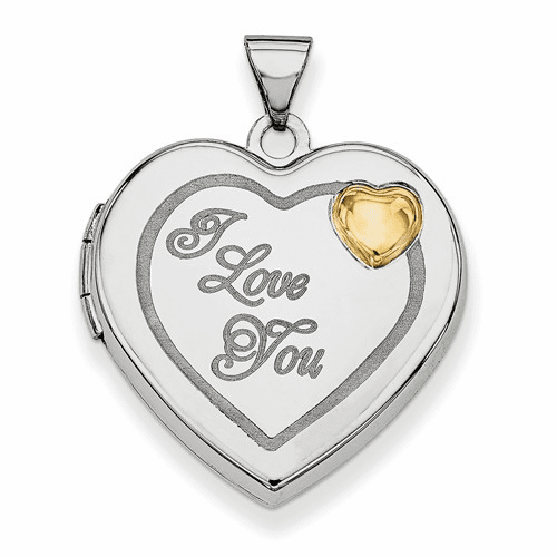 Sterling Silver Rhodium-plated W/gold-plate 21mm Heart Locket Qls605