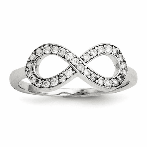Sterling Silver Rhodium-plated With Cz Infinity Ring Qr5884-10