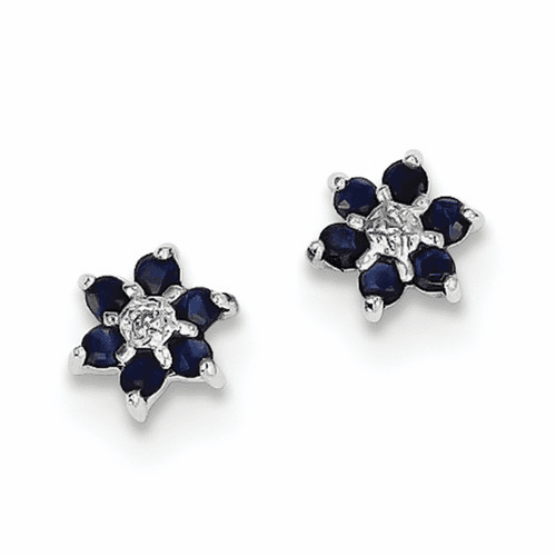 Sterling Silver Rhodium Sapphire & Diamond Post Earrings Qdx306