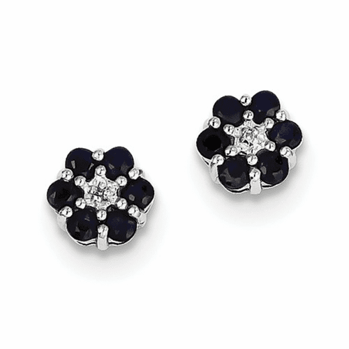 Sterling Silver Rhodium Sapphire & Diamond Post Earrings Qdx317