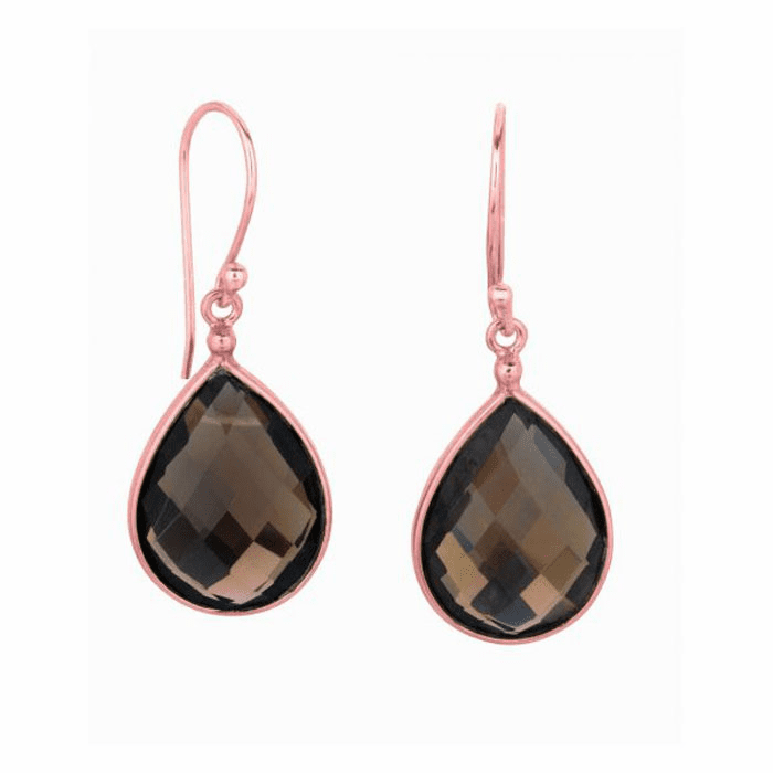 Sterling Silver Rose 1-Teardrop Smokey Quartz Drop Earring