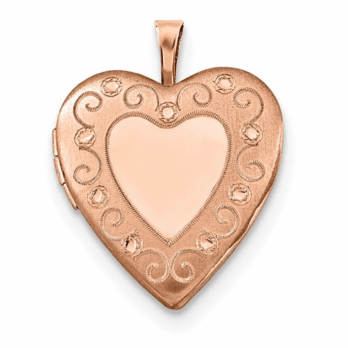 Sterling Silver Rose Gold-plated 20mm D/c Heart Locket Qls739