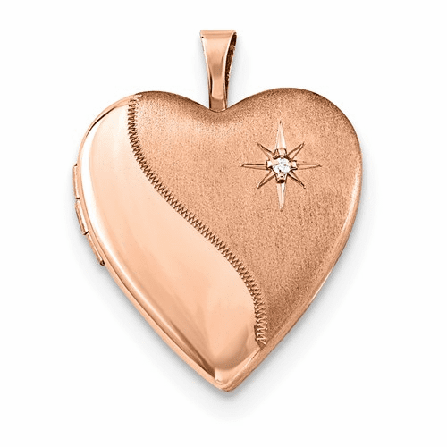 Sterling Silver Rose Gold-plated 20mm Diamond Heart Locket Qls738