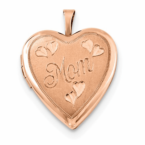 Sterling Silver Rose Gold-plated 20mm Mom Heart Locket Qls740