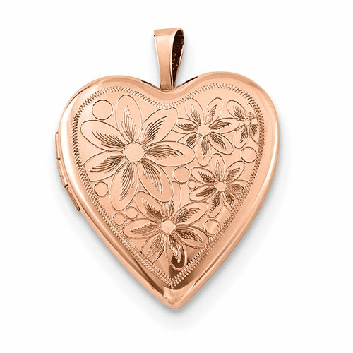 Sterling Silver Rose Gold-plated 20mm With Daisies Heart Locket Qls741