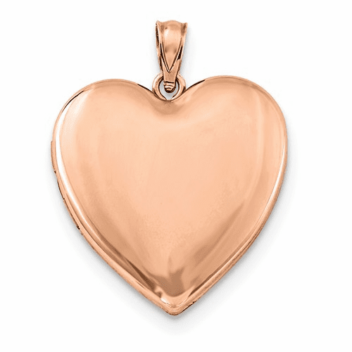 Sterling Silver Rose Gold-plated 24mm Plain Heart Locket Qls754