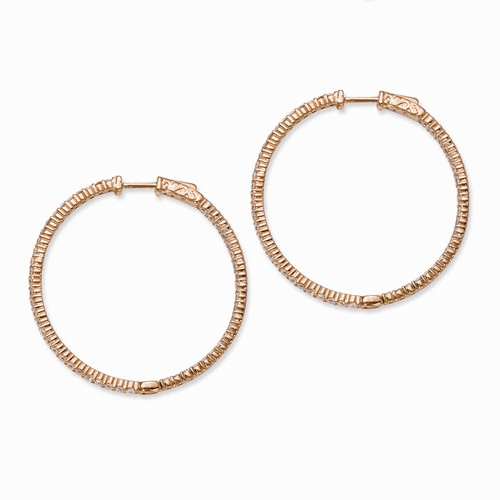 Sterling Silver Rose Gold -plated Cz In And Out Hoop Earrings Qe7577p
